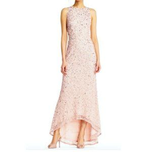 Adrianna Papell Blush Maxi Gown Beaded Sequin NWT